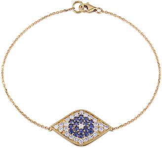 Diamond Select Cuts 14K 1.22 Ct. Tw. Diamond & Sapphire Evil Eye Bracelet
