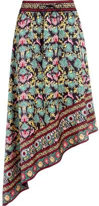Alice + Olivia Floral-Print Asymmetric Midi Skirt