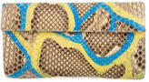 Nancy Gonzalez Hand-Painted Python Flap Clutch