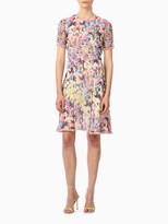 Jason Wu Chiffon Printed Fit & Flare Dress With Chiffon Trim