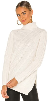 Milly Asymmetrical Cable Turtleneck