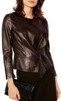 Karen Millen Front-Ruffle Leather Jacket