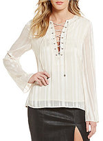 J.o.a. Solid Bell Sleeve Lace-Up Top