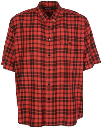Balenciaga Checked Print Short-Sleeve Shirt