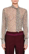 Bottega Veneta Tie-Neck Floral-Print Silk Blouse, Peony/Lavender