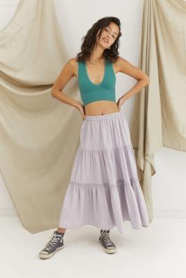Urban Outfitters Penelope Prairie Poplin Midi Skirt - Purple S at