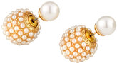 Lydell NYC Pearly Burst Front-Back Stud Earrings, White