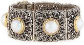 Konstantino Square Filigree Mabe Pearl Hinged Bracelet