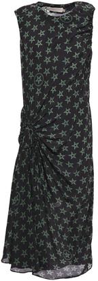 Preen Line Gathered Floral-print Crepe De Chine Midi Dress