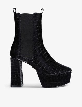 Kg Kurt Geiger Tate heeled croc-embossed faux-leather ankle boots