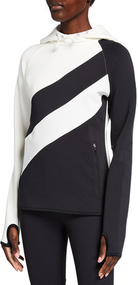 Tory Sport Reflective-Stripe Bicolor Hoodie