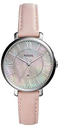 Fossil Jacqueline Three-Hand Date Blush Leather Watch - Analogue Women's Quartz Wrist Watch with Pink Mother-Of-Pearl Dial and Integrated Date Function in Gift Box