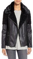Vince Camuto Women's Mixed Media Faux Shearling Moto Jacket