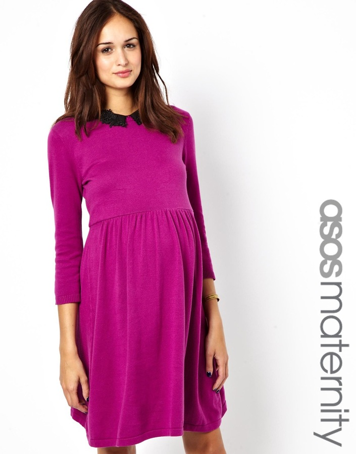 Big Chill ASOS Maternity Knitted Skater Dress with Peter Pan Collar