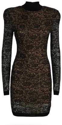 Balmain Floral Lace Mini Dress