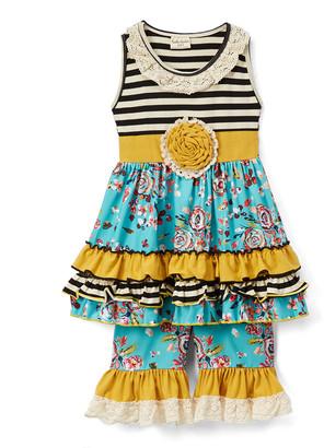 Lulu Ruffles By Tutu And Ruffles by Tutu and Girls' Casual Dresses - Black & White Stripe & Floral Ruffle Dress & Shorts - Toddler & Girls