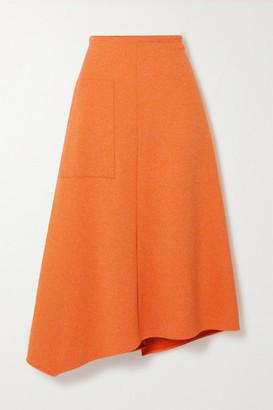 Tibi Asymmetric Melange Ribbed-knit Midi Skirt - Orange