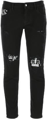 Dolce & Gabbana Bandana Print Insert Skinny Jeans