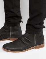 Asos Chelsea Boots In Black Suede With Double Zip
