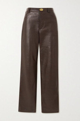 Bottega Veneta Leather Straight-leg Pants - Brown