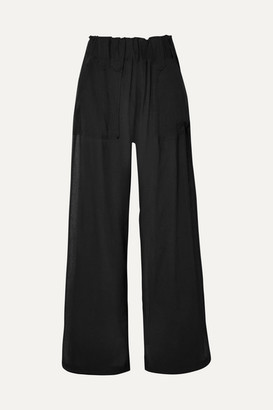 MATIN - Crinkled-cotton Wide-leg Pants - Black
