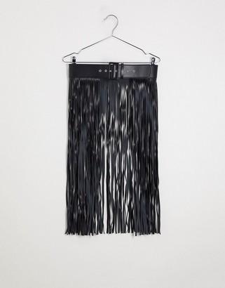 ASOS DESIGN fringe skirt belt in black