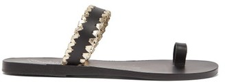 Ancient Greek Sandals Thalia Whipstitched Leather Sandals - Black Gold