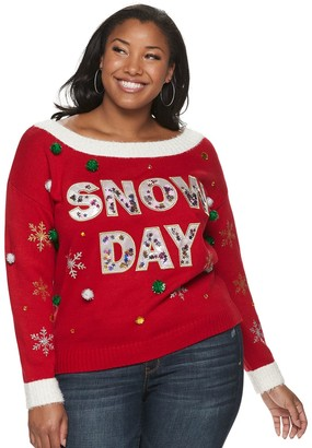 It's Our Time Juniors' Plus Size Long Sleeve Off-the-Shoulder Christmas Snow Day Pullover Sweater