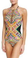 Trina Turk Paisley High-Neck One-Piece Swimsuit