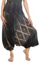 Lofbaz Women's Hippe Solid Smocked Waist Harem trousers Rayon boho Pants Burgundy XL