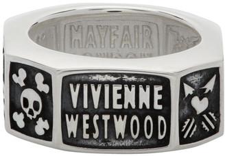 Vivienne Westwood Silver and Gunmetal Samos Ring