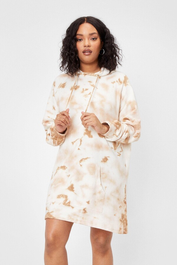 Thumbnail for your product : Nasty Gal Womens Plus Size Tie Dye Hoodie Dress - White - 20