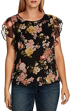 Vince Camuto Beautiful Blooms Flutter Sleeve Top