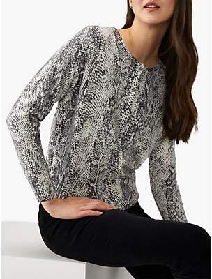 Pure Collection Cotton Wool Cropped Cardigan, Charcoal Snakeskin