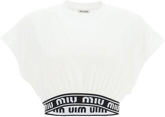 Miu Miu Logo Tape Cropped T-Shirt