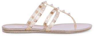 Valentino Rockstud Glitter PVC Thong Sandals