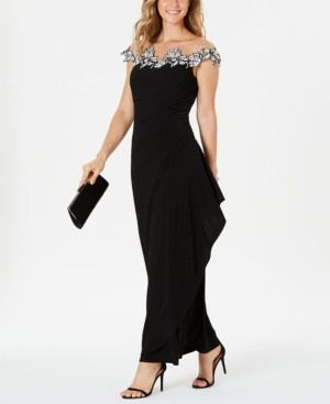 MSK Petite Off-The-Shoulder Illusion-Neck Gown