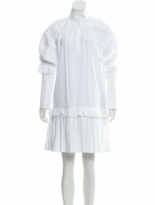 Ellery Mock Neck Knee-Length Dress White