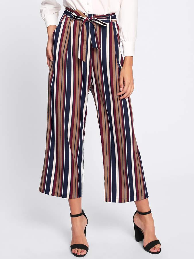 Shein Tie Waist Striped Culotte Pants
