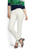 Lands' End Women's Mid Rise Straight Leg Jeans-Blue Neat