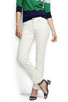 Lands' End Women's Petite Mid Rise Straight Leg Jeans-Chalk
