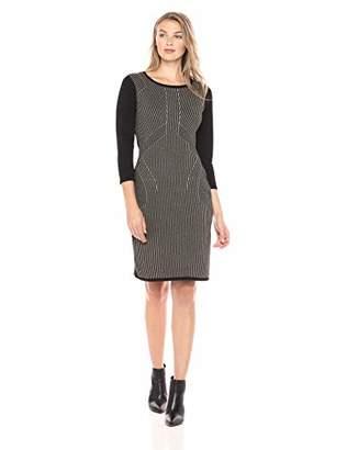 Sandra Darren Women's 1 PC Long Sleeve Printed Front Sheath Sweater Dress