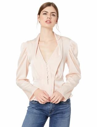 BCBGMAXAZRIA Women's Pleated Shoulder Satin Peplum Top