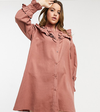 Lola May Curve smock dress with volume sleeves