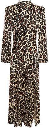 De La Vali Clara Gathered Leopard-print Satin Maxi Dress