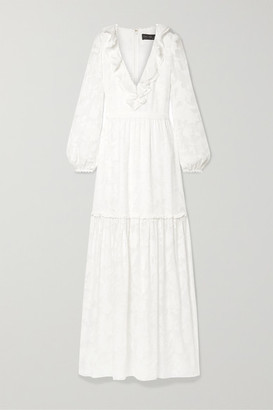 Rachel Zoe Alexis Ruffled Tiered Fil Coupe Silk And Cotton-blend Chiffon Maxi Dress - White