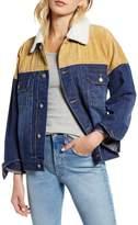 UNIONBAY Keith Corduroy Yoke Faux Shearling Trim Denim Jacket
