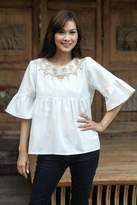 Hand Embroidered Cotton Blouse, 'Sugar Chic'