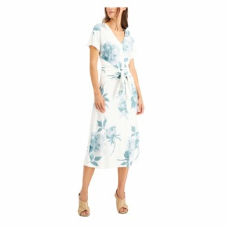 Alfani Womens White Floral Short Sleeve V Neck Midi Wrap Dress Dress UK Size:20