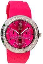Eton Ladies Diamante Case Pink Patterned Silicon Strap Watch 2927-5, Low Nickel